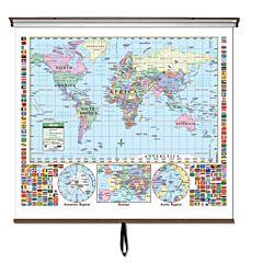 Classroom U.S./World Primary Combo Wall Map 54
