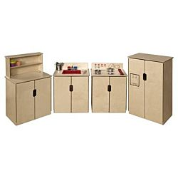 Wood Designs Children Kitchen Play Set of (4) Tip-Me-Not Appliances WD-10082