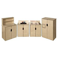 Wood Designs Children Kitchen Play Set of (4) Tip-Me-Not Appliances w/Brown Tray & Knobs WD-10082BN