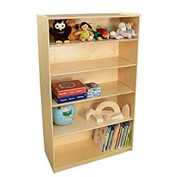 Wood Designs Childrens Bookshelf with Adjustable Shelves, Natural wood , 59 1/2