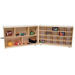 Wood Designs Children Half & Half Folding  Storage with (20) Translucent Trays WD-14601