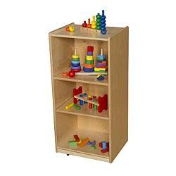 Wood Designs Children Three Shelf Unit with Adjustable Shelves, Natural wood , 38