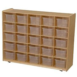 Wood Designs 25 Tray Storage Natural with Translucent Trays, WD-16001