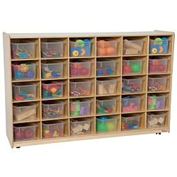 Wood Designs 30 Tray Storage Natural with Translucent Trays, WD-16031