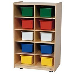 Wood Designs Children Vertical Storage with 10 Assorted Trays, 38