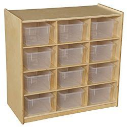 Wood Designs Children 12 Cubby Storage with Translucent Trays, Natural Color, 30