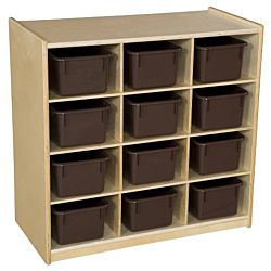 Wood Designs Children 12 Cubby Storage with Brown Trays, Natural wood Color, 30