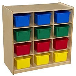 WoodDesigns, Children 12 Cubby Storage with Assorted Trays, Natural wood Color, 30