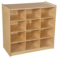 Wood Designs Children 12 Cubby Storage without Trays, Natural wood Color, 30
