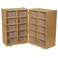 Wood Designs Children Folding Vertical Storage with (20) Translucent Trays, Natural wood ,  38
