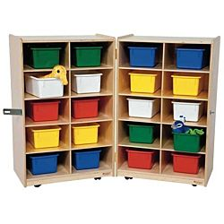 Wood Designs Children  Folding Vertical Storage with (20) Assorted Trays, Natural wood ,  38