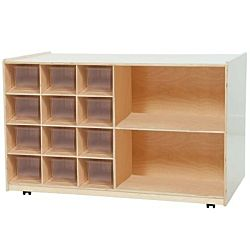 Wood Designs Kids, 12 Clear Trays Plus Wood Shelving Storage WD-16501