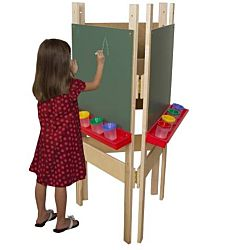 Wood Designs Children's 3-Sided Adjustable Easel with Chalkboard WD-18600