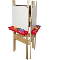 Wood Designs Children's 3-Sided Adjustable Easel with Markerboard WD-18625