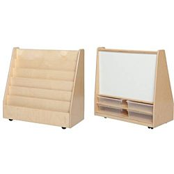 Wood Designs Classroom Book Storage & Display with Markerboard w/(4) 3