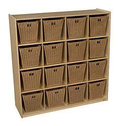 Wood Designs  Children Cubby Storage with 16 Medium Baskets, Natural wood ,  49