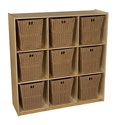 Wood Designs Children Cubby Storage with 9 Large Baskets, Natural wood ,  49