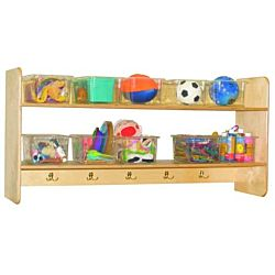 Wood Designs Classroom Wall Hanging Storage with (10) Translucent Trays WD-51401