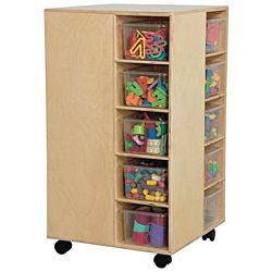Wood Designs Children Cubby Spinner with Translucent Trays, Natural wood ,  37