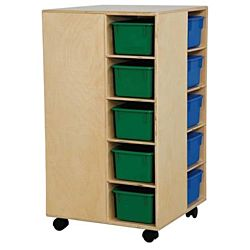 Wood Designs Children Cubby Spinner with Assorted Colors Trays, Natural wood ,  37