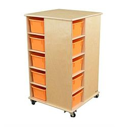 Wood Designs Children Cubby Spinner with Orange Trays, Natural wood ,  37