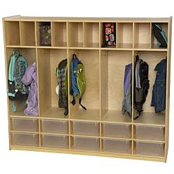 Wood Designs Kids, Locker and Communication Center with 10 Translucent Trays WD-990096CT
