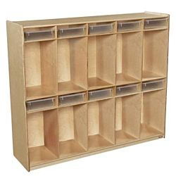 Wood Designs, Kids,10 Section Locker with Translucent Trays