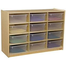 WoodDesigns, Children Cubby Shelves with Translucent Trays, Natural wood Color, 29-1/16