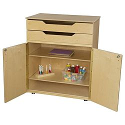 Classroom Teacher's, Mobile Cabinet, Natural wood Color, 46