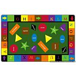 Simple Shapes Kids Educational Rugs 6' x 6' Rectangle