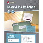 MACO Laser/Ink Jet White Address Labels, 1-1/3 x 4 Inches, 14 Per Sheet, 1400 Per Box ML-1400