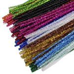 Chenille Stems Pipe Cleaners 12 Inch x 4mm 100-Piece, Metallic Sparkle Assorted Colors