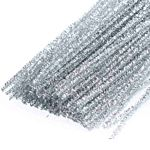 Chenille Stems Pipe Cleaners 12 Inch x 4mm 100-Piece, Metallic Sparkle Silver