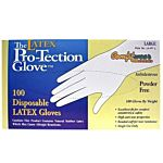 Disposable Latex Gloves, Size Large, 100 gloves per box