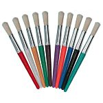 Creative Arts by Charles Leonard Stubby Round Paint Brushes, Assorted Colors, 10/Set