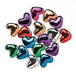 Pony Beads  Acrylic Metallic Plated  Assorted Colors  Heart  6 x 9mm  100 pieces