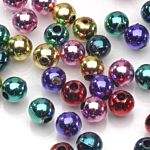 Plastic Beads Assorted Bright Metallic Round 8mm