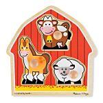Melissa & Doug Barnyard Animals  Jumbo Knob Wooden Puzzle - 3 Pieces, item 2054