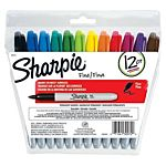 Sharpie Permanent Markers, Fine Point, Assorted Colors, Re-Sealable Pouch, 12-Count 30072