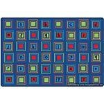 Kids Literacy Squares Primary Carpet  6' x 9'
