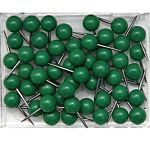 Map Push Pins, Plastic Head, Steel Point, Green , 100-Count