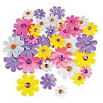 Fabric Self-Adhesive Daisies with Jewel Center - 36/pkg.