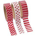 Red Washi Tape Set (3 Rolls per Unit), 16'