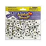 Alphabet Beads Large 10 mm Cube White with Black Letters 300 pc.