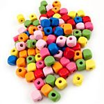 Hygloss Bright Wooden Beads Wooden Colored Cube Beads, 250