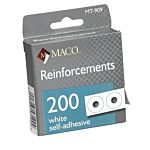 MACO White Hole Reinforcements, 1/4 Inch Diameter Hole, 200 Per Dispenser Box