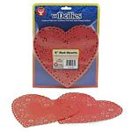 "Hygloss Heart Paper Doilies  Decorative, Red Lace Doilies, Disposable, 6"" Diameter, 100 Pack"