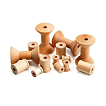 Hygloss Unfinished Wood Spools Natural Set of 72 (9570)