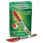 Ticonderoga RediSharp Plus Low Odor Permanent Markers, Fine Point, Red,  97201