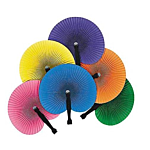 Colorful Folding Hand Fans , 12 units